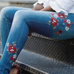 Express Floral Embroidery High Rise Jegging